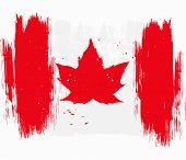 pic of canada maple leaf  - Vector Canada stylized flag with maple leaf in grunge style - JPG