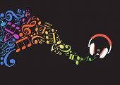 Concept music. Music background with headphones and musical notes poster