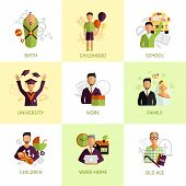 image of retirement age  - Nine stages of human life from birth to old age flat icons set abstract isolated vector illustration - JPG