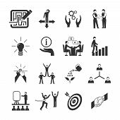 stock photo of mentoring  - Mentoring black icons set with goal teamwork guidance symbols isolated vector illustration - JPG