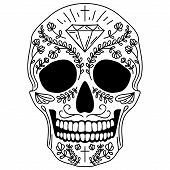 picture of sugar skulls  - Black and white vector isolated Mexican sugar skull human head - JPG