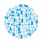 picture of milk  - milk and milk product theme icons in circle eps10 - JPG