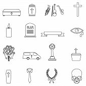 foto of hearse  - funeral simple black outline icons set eps10 - JPG