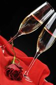 picture of rose close up  - beautiful rose champagne and letter with ribbon close up - JPG