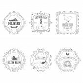 stock photo of human egg  - Farm Products Badges With Ornament Vector Illustration - JPG