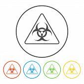 foto of biological hazard  - Vector biohazard sign or icon flat Illustration - JPG