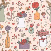 image of house-plant  - Stunning floral seamless pattern made of different house plants in pink colors - JPG