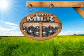 picture of milk  - Wooden sign with text Fresh milk and steel cans for the transport of milk - JPG