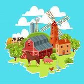 stock photo of haystack  - Farm multicolored concept with barn windmill cow pig goose chicken haystack trees vector illustration - JPG