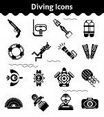stock photo of flipper  - Diving icons black set with diver underwater gun flipper isolated vector illustration - JPG
