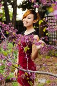 stock photo of skinny  - Skinny Attractive Asian American Woman Standing Outdoors - JPG