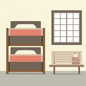 image of bunk-bed  - Bunk Bed With Wooden Chair Vector Illustration - JPG