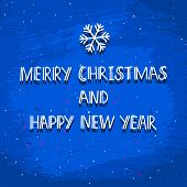 stock photo of merry christmas text  - Congratulations grunge winter vector card hand drawn text on grunge blue textured background  Merry Christmas and Happy New Year - JPG