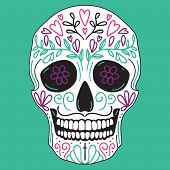 stock photo of sugar skulls  - Mexican vector simple white sugar skull with floral decoration on turquoise background - JPG