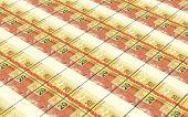 stock photo of brazilian money  - Brazilian reais bills stacks background - JPG