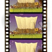 stock photo of covered wagon  - Vintage western film strip with an covered wagon in prairie - JPG