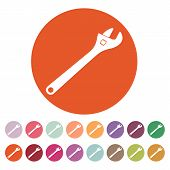 stock photo of adjustable-spanner  - The adjustable wrench icon - JPG