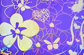 image of hologram  - Seamless pattern with butterflies over purple background - JPG
