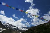 stock photo of tibetan  - tibetan flags in stubaital in austria during summer - JPG