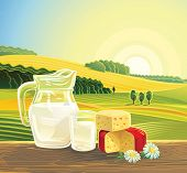 picture of milk products  - Countryside landscape with set of milk products - JPG