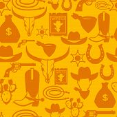 stock photo of cowboys  - Wild west seamless pattern with cowboy objects and design elements - JPG