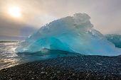 picture of iceberg  - Iceberg beach at Jokulsarlon Iceland sunrise - JPG