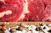 stock photo of beef shank  - Piece of raw beef and veal - JPG