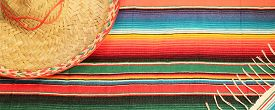 pic of mexican fiesta  - Traditional Mexican fiesta poncho rug in bright colors with sombrero background with copy space - JPG
