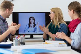 image of applause  - Applause after report at business video conference - JPG
