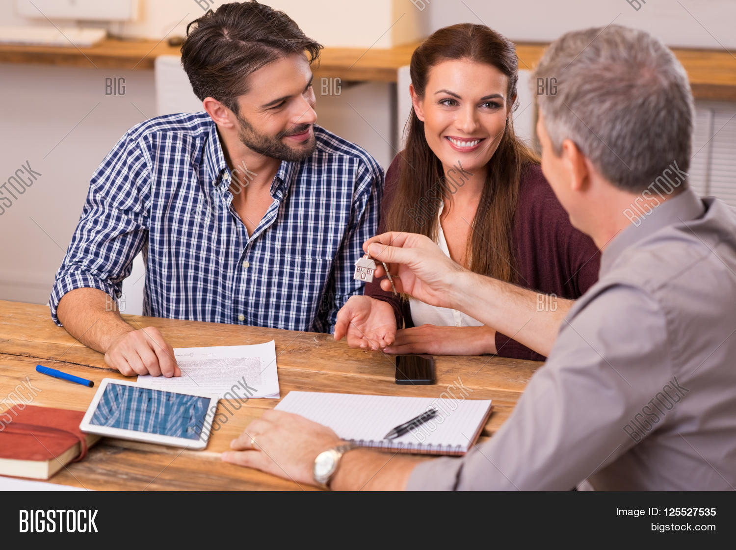 Young happy couple receiving house image photo bigstock - Young couple modern homes ...