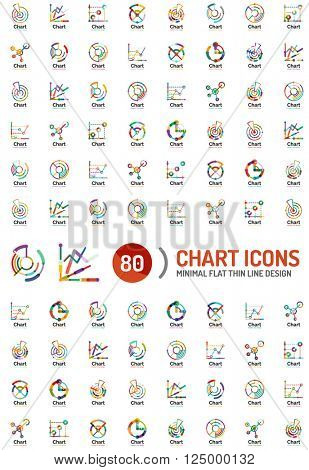 Mega collection of chart and graph business logos and icons