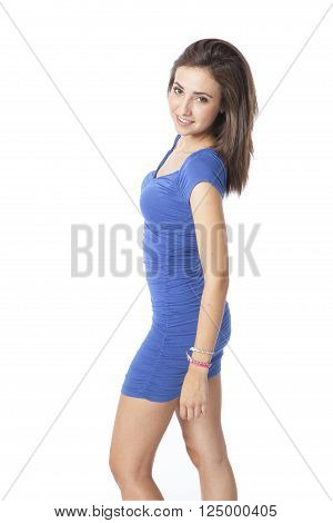 attractive young woman posing in white background
