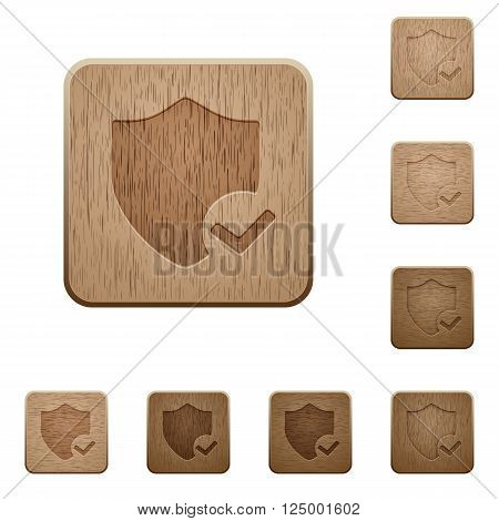 Set of carved wooden protection ok buttons in 8 variations.