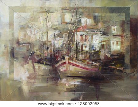 Boats on the island harbor, handmade oil painting on canvas