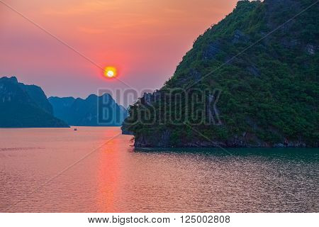 Purple sunset in Halong Bay, Vietnam, Southeast Asia