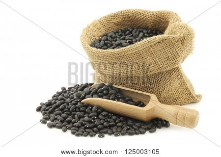 dried black beans in a burlap bag with a wooden scoop on a white background