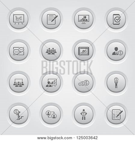 Business Coaching Icon Set. Online Learning. Grey Buttons Design