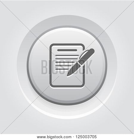 Summary Icon. Business Concept. Grey Button Design