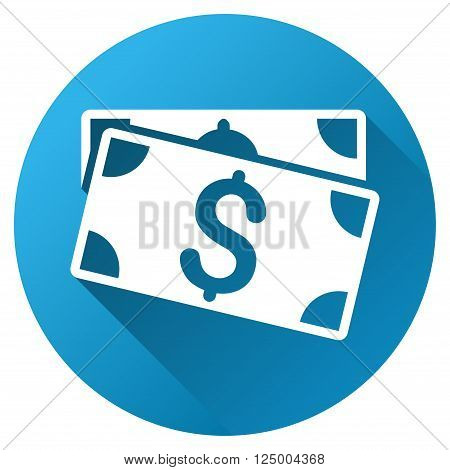 Dollar Banknotes vector toolbar icon for software design. Style is a white symbol on a round blue circle with gradient shadow.