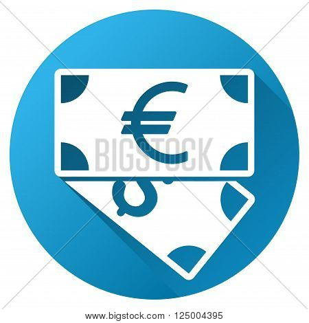 Euro and Dollar Banknotes vector toolbar icon for software design. Style is a white symbol on a round blue circle with gradient shadow.