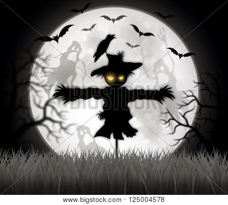 Happy Halloween sign with scarecrow - vector illustration.