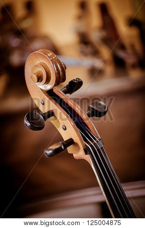 Cello details classic Musical instrument in shop of violin maker