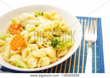 Pasta Shells Served with Carrots Broccoli & Cauliflower