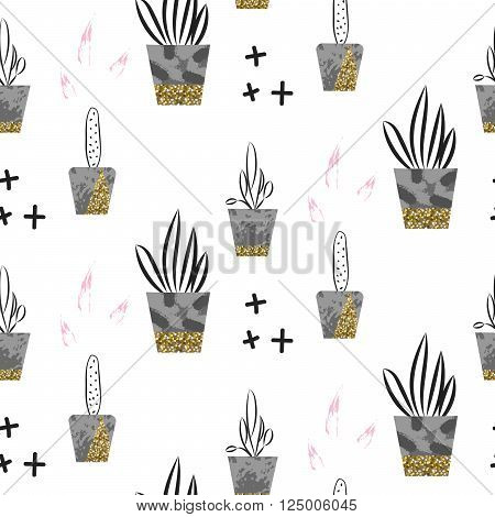 Glitter scandinavian ornament. Concrete pots with plants. Vector gold seamless pattern collection. Modern shimmer details stylish texture.