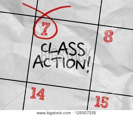 Concept image of a Calendar with the text: Class Action