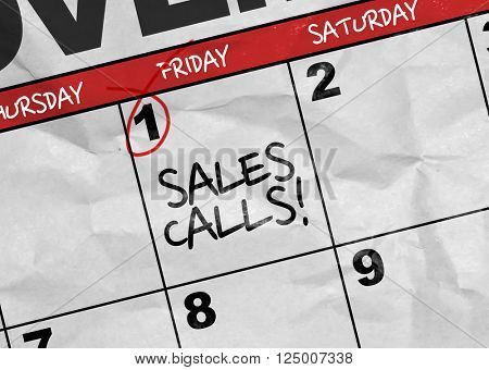 Concept image of a Calendar with the text: Sales Calls
