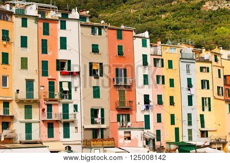 Detail of the tower houses in Portovenere or Porto Venere (UNESCO world heritage site). La Spezia Liguria Italy