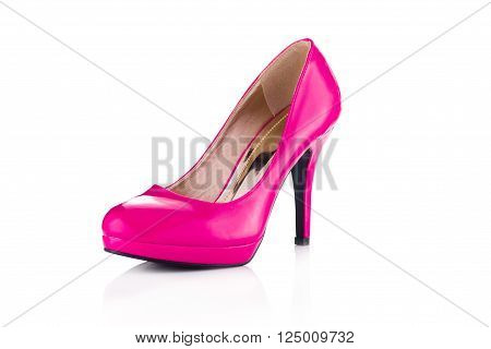 Hot pink single stiletto isolated on white background