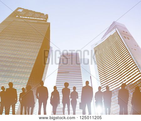 Back Lit Business People Planning Aspirations Rear View Concept
