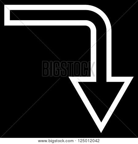 Turn Down vector icon. Style is thin line icon symbol, white color, black background.